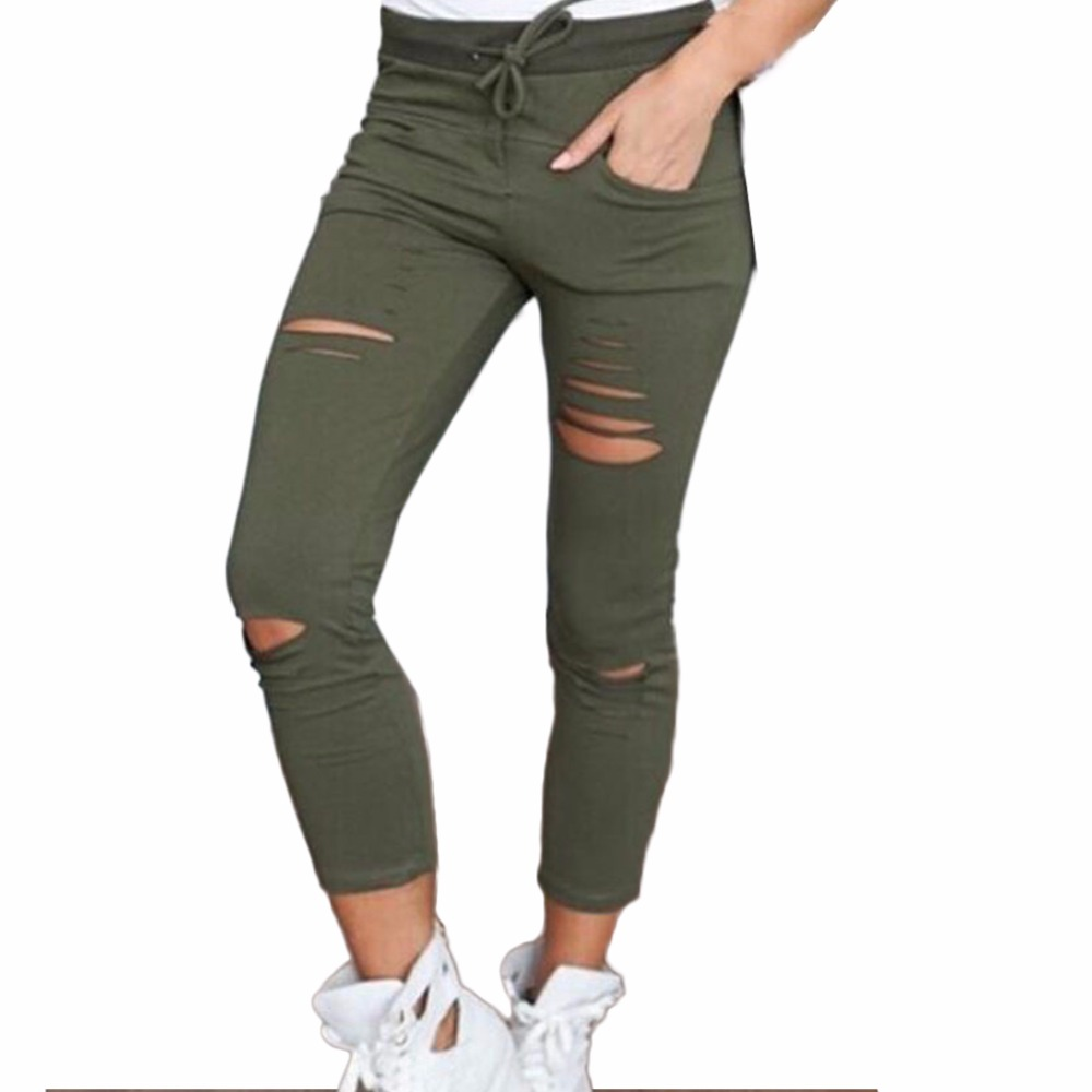 Women Fashion Cotton Hole Pencil Pants Skinny Nine Points Pants High Waist Stretch Jeans Slim Pencil