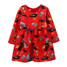 Autumn Winter Baby Girl's Christmas dress beautiful Red Long sleeve Girls New Year party dress bird Print Princess Dress цена в Москве и Питере