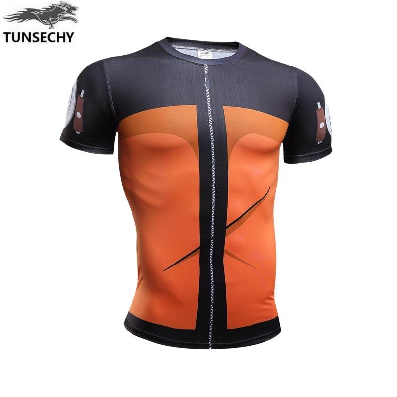 TUNSECHY Naruto flag wood kakashi Payne nara deer pill Sasuke round collar short sleeve compression tight T-shirts free shipping
