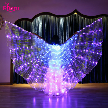 Ruoru 5 Modes Belly Dance LED Isis Wings Colorful Wings Stage Performance Props Led Wings Belly Dancing Accessory with Stick