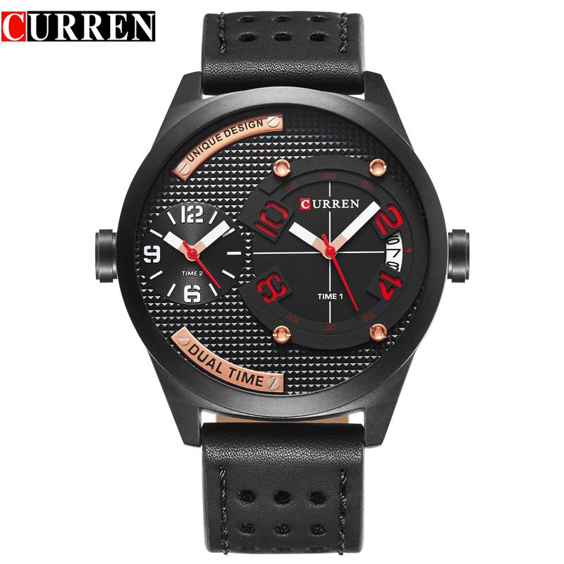 Prix pour CURREN marque de luxe 2017 Nouveau noir Bracelet en cuir De Mode D'affaires Décontractée 30 mètre Étanche Relogio Mascu Dual time zone 8252