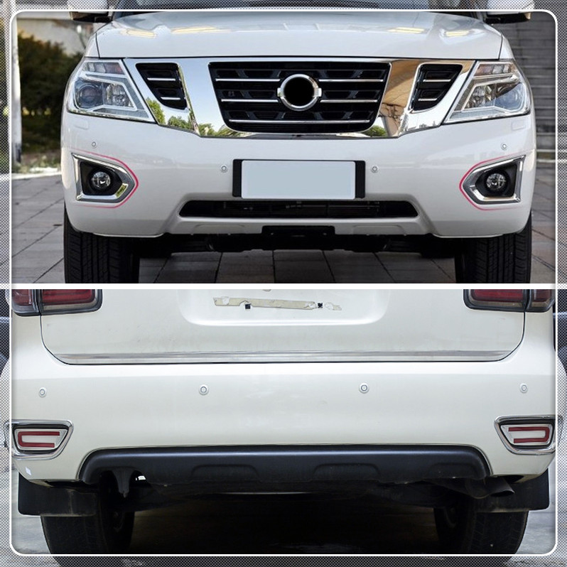 Car Matte Front Rear Fog Lamp Light Cover Trim Frame For Nissan Patrol Y62 2017 2018 Car Cover Auto Accessories