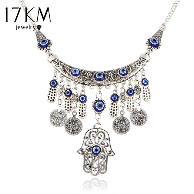 17km vintage silver color statement necklaces for women 2017 fatima 17km vintage silver color statement necklaces for women 2017 fatima eye hand tibetan pendants ethnic jewelry aloadofball Choice Image