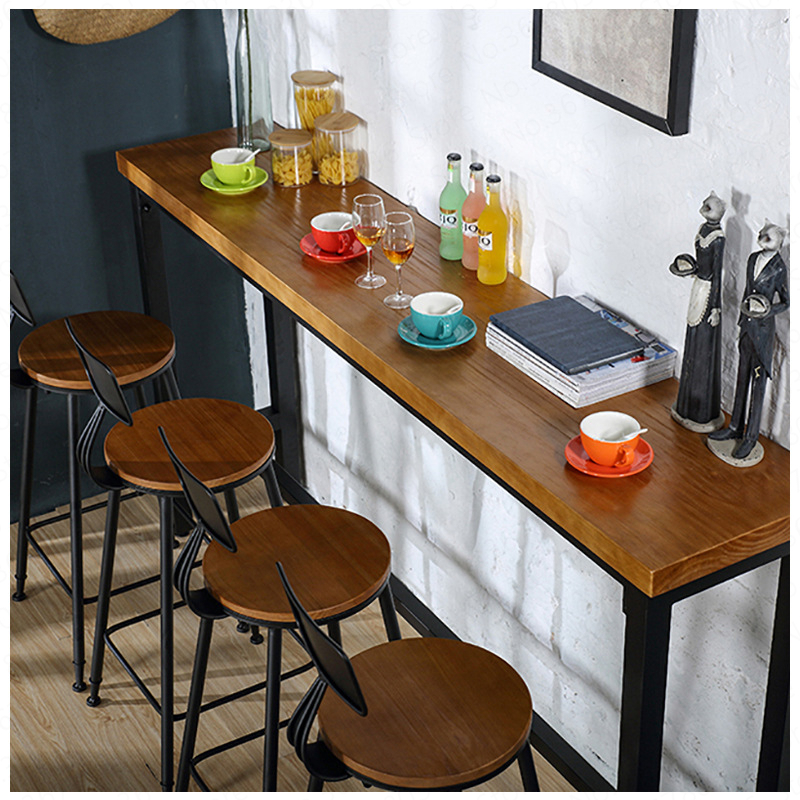 European Retrobar Stools Modern  Solid Wood Home  Back Lifting Rotating High Stool  Counter Stool  Barstool