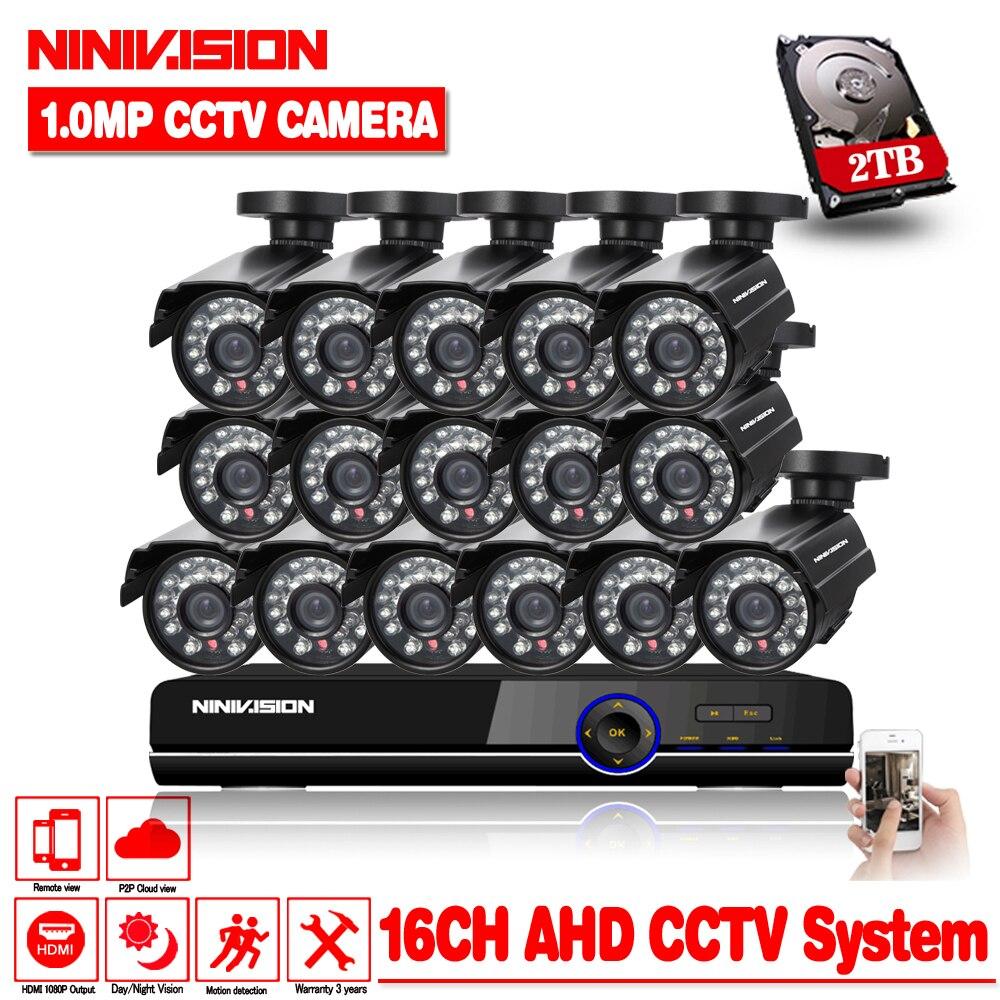 16ch AHD CCTV Système 1.0MP 2000tvl DVR Kit 16CH AHD 1080 P DVR 16 pièces 720 p Caméras DE VIDÉOSURVEILLANCE PC & Affichage Mobile Plug And Play 2 TO de DISQUE DUR