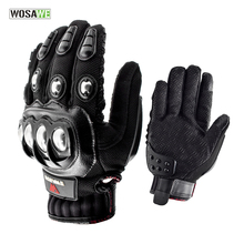 WOSAWE Stainless Steel Cycling Gloves Touch Screen Racing Motorbike Luvas Sports Shockproof Mtb Bike Guantes Ciclismo