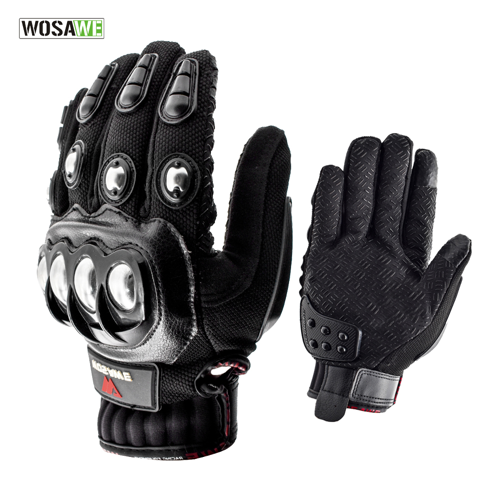 WOSAWE Stainless Steel Cycling Gloves Touch Screen Racing Motorbike Luvas Sports Shockproof Mtb Bike Gloves Guantes Ciclismo