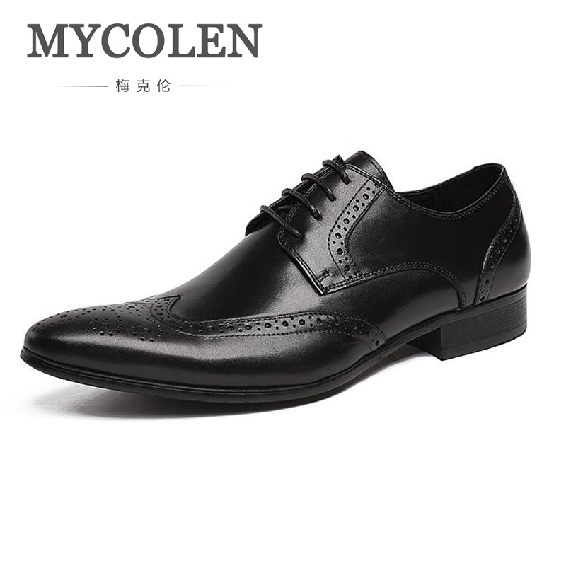 MYCOLEN Men Business Formal Dress Shoes Oxfords Men Leather Shoes Lace-Up British Style Genuine Leather Bullock Carving Classic cunddio new product low to help bullock restoring ancient ways genuine leather british the stylist pointed men s shoes 38 46