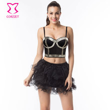 Gothic Studded Silver Tube Beads Bralette Push Up Bustier Crop Top Tutu Skirt Set Burlesque Club Bra Dress Punk Rave Brassiere