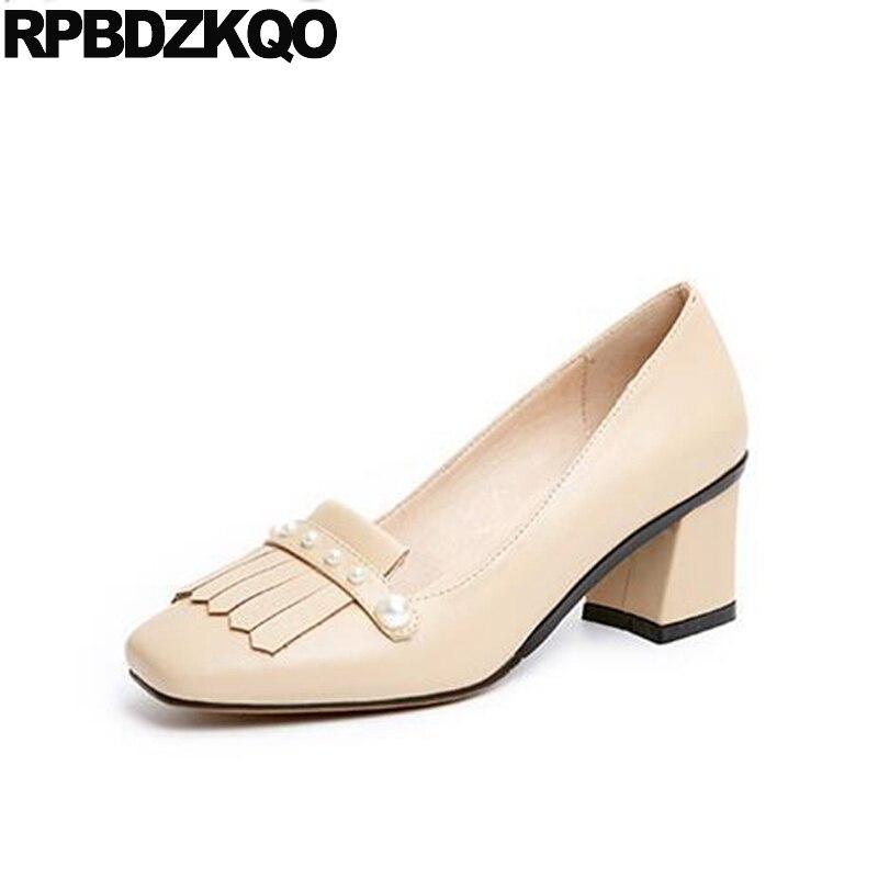 Korean Square Toe Tassel Sweet Women Nude High Heels Pearl Dress 2017 Medium Fashion Shoes Brand Block Size 4 34 Pumps Fringe selens pro 100x100mm 12nd square medium