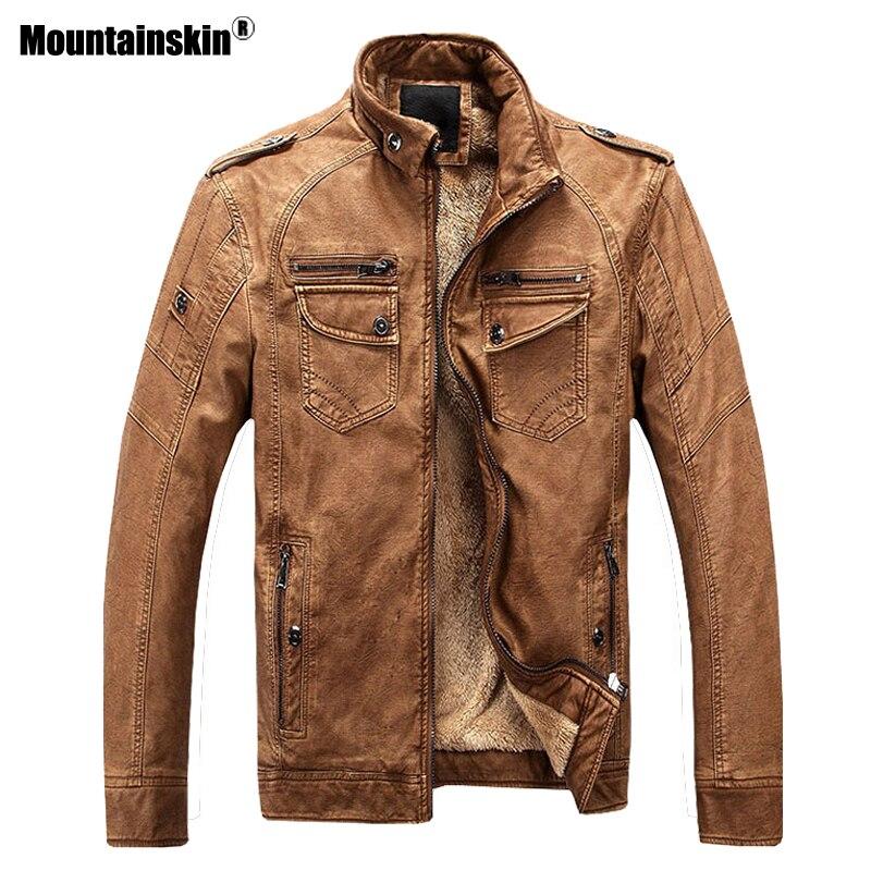 Mountainskin 2018 새로운 가을 겨울 남자 따뜻한 자 켓 pu 가짜 가죽 자 켓 남자 코트 벨벳 겉옷 망 브랜드 의류 sa417-에서재킷부터 남성 의류 의  그룹 2