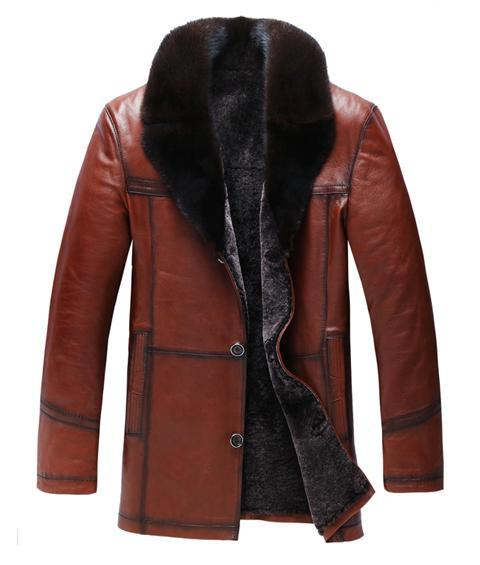 New 2013 4XL Winter Mens Coats fur liner Genuine Leather