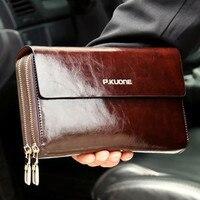 Luxury Shining Oil Wax Cowhide Men Clutch Bag Long Genuine Leather Men Wallets Double Layer Business