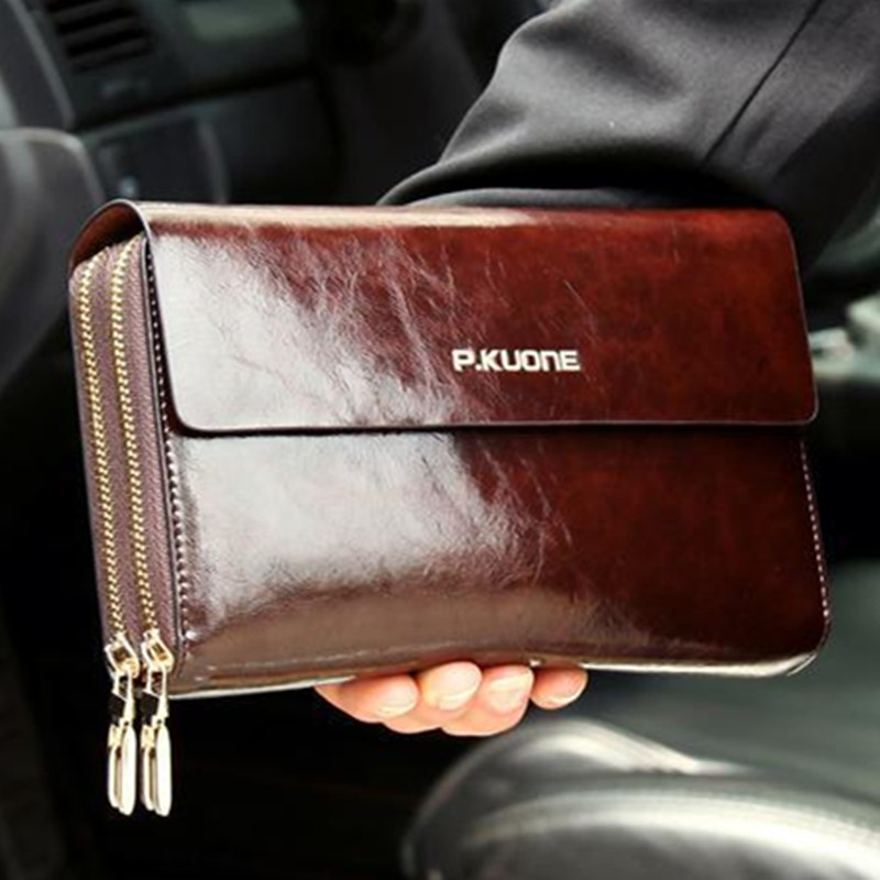 Luxury Oil Wax Cowhide Men Clutch Bag Long Genuine Leather men wallets Double Zipper Layers Business Clutches Purse 2018 New long wallets for business men luxurious 100% cowhide genuine leather vintage fashion zipper men clutch purses 2017 new arrivals