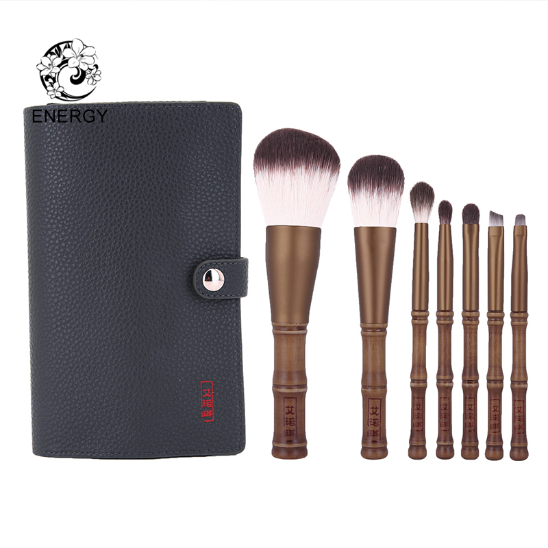 ENERGY Brand 7pcs Makeup Brush Set Make Up Brushes Synthetic Hair + Bag Pincel Maquiagem Brochas Maquillaje Pinceaux Maquillage цена 2017