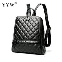 Fashion Black PU Leather Backpack Female Orange Plaid Backpacks For Adolescent Girls Women Red Spliced Casual