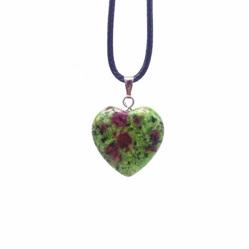 23 kolory 20mm kamień serce urok wisiorek naszyjnik czarny przewód przewód liny łańcuch Opal Onyx Jaspers lawy Jades itp