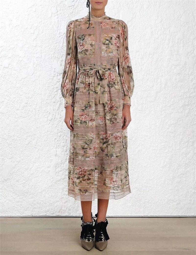 2019 nouveauté Sprin Designer Sexy élégante femme dentelle robe imprimé Floral taille haute ceintures femme Vestido avec longue doublure