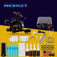 Complete Tattoo Machine Kit Set 1 Coils Guns 4 Colors Black Pigment Sets Power Tattoo Beginner Grips Kits Permanent Makeup