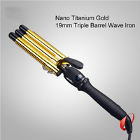 Professional LCD Digital Ceramic Electric Golden Hair Curlers Triple Barrel Waver Curling Irons Hairdressing Tool Curly Magic