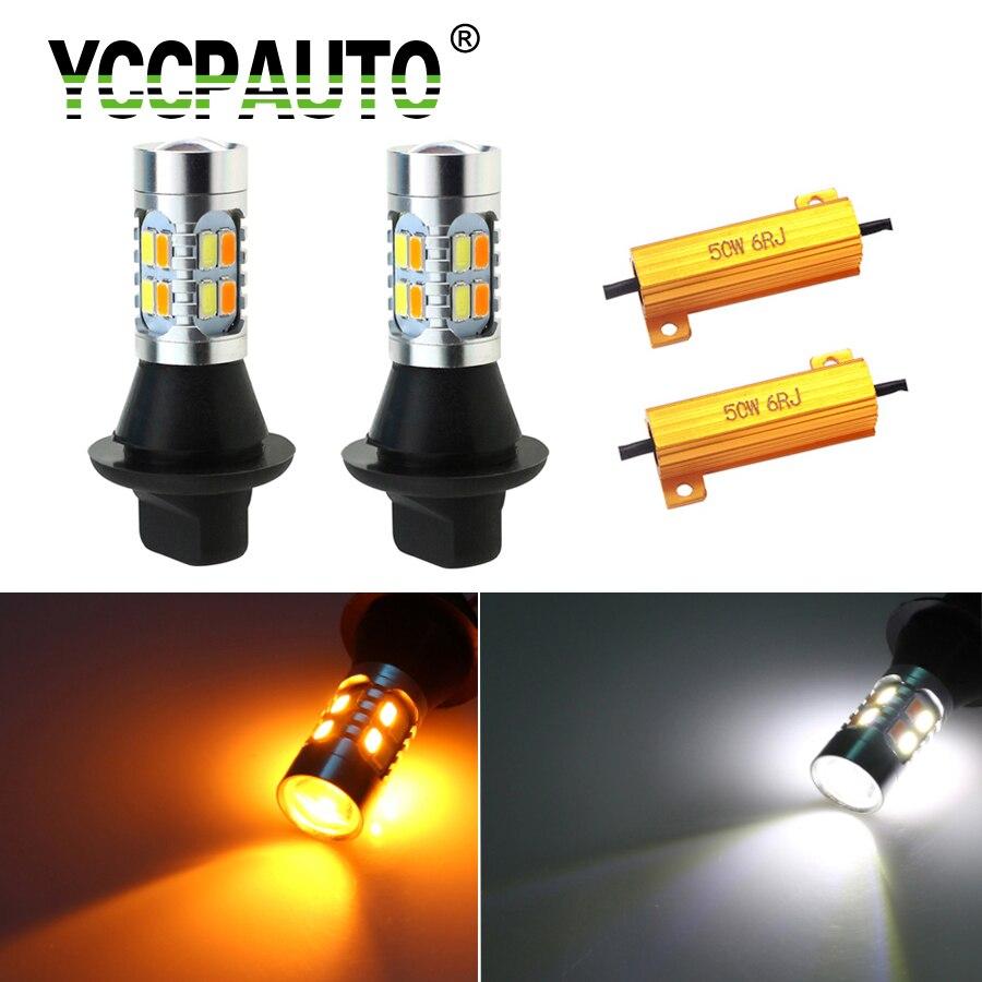 YCCPAUTO 2 pièces 1156 T20 LED double couleur W21W PY21W P21w LED Canbus clignotants sans erreur DRL 20 SMD 5630 blanc + jaune