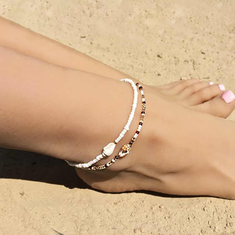 S159 แฟชั่นที่มีสีสันลูกปัด Cowrie Shell สำหรับผู้หญิงสร้อยข้อมือขาเงินทองข้อเท้าเท้าเครื่องประดับ