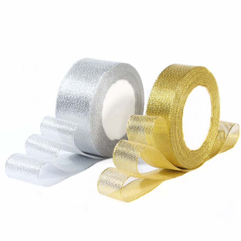 Gold/Silver Silk Satin Organza Ribbon 0.6-5CM Glitter Embroidered Onions Ribbons for Wedding Cake Gift Decoration Craft Supplies