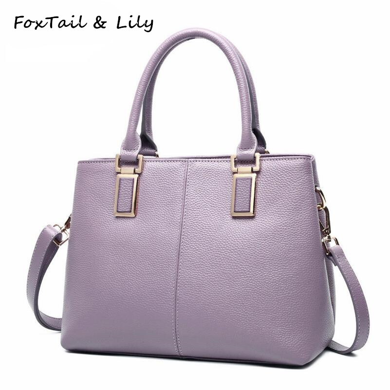 FoxTail & Lily Ladies Real Genuine Leather Tote Shoulder Bag Luxury Handbags Women Bags Designer Cow Leather Crossbody Bags genuine real cow leather female handbags women shoulder bags purple lady small tote bag red logo designer patent bag 2017 new