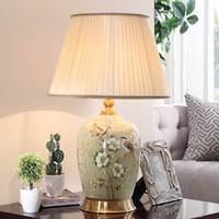 Modern Table lamp Ceramic drawing Flower bird ceramic Desk Lamp China Reading Bedroom Luminaria Led Study Home lighting G571
