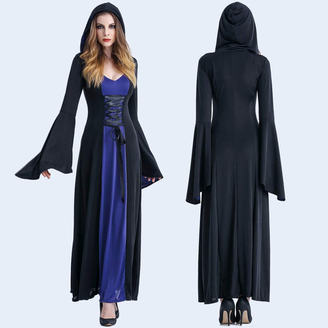 a3a024b06e Halloween Costume Witch Medieval Dress Women Adult Plus Size Sexy Scary  Wicca Cosplay Gothic Wizard Halloween