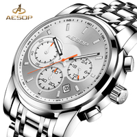 AESOP Sports Quartz Watch Men Full Stainless Steel Male Business Clock Wrist Shockproof Waterproof