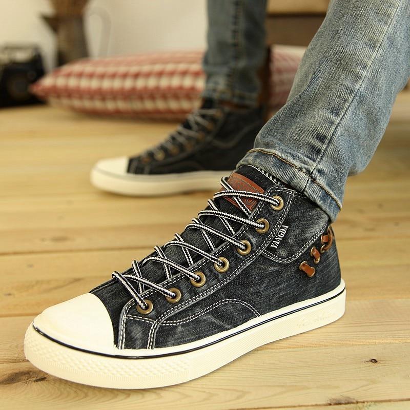 New Men Shoes Korean High-top Laces Men Canvas Shose 2017 Fashion Spring/Summer Breathable Men Casual Shoes Flats Zapatos Hombre