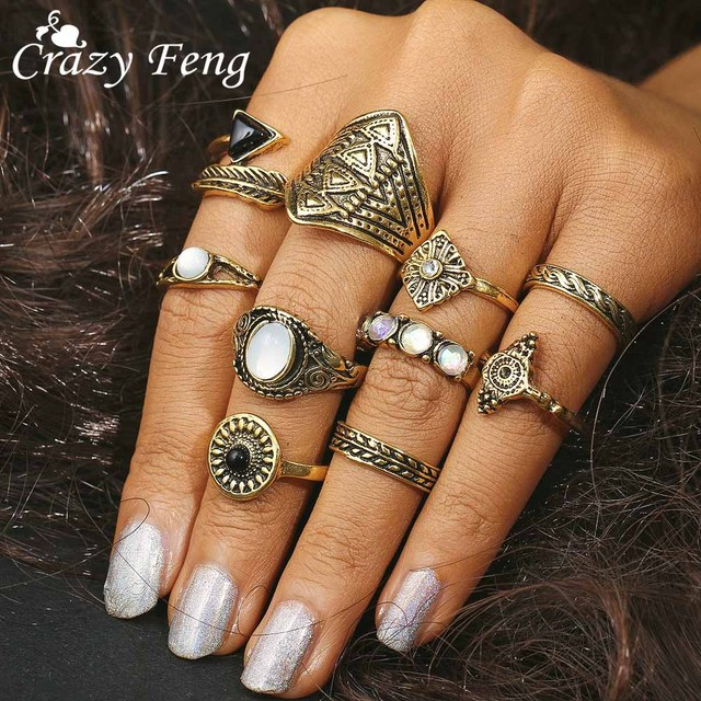 Crazy Feng 10Pcs/Lot Antique Gold Silver Leaf Crystal Opal Knuckle Ring Sets Fas