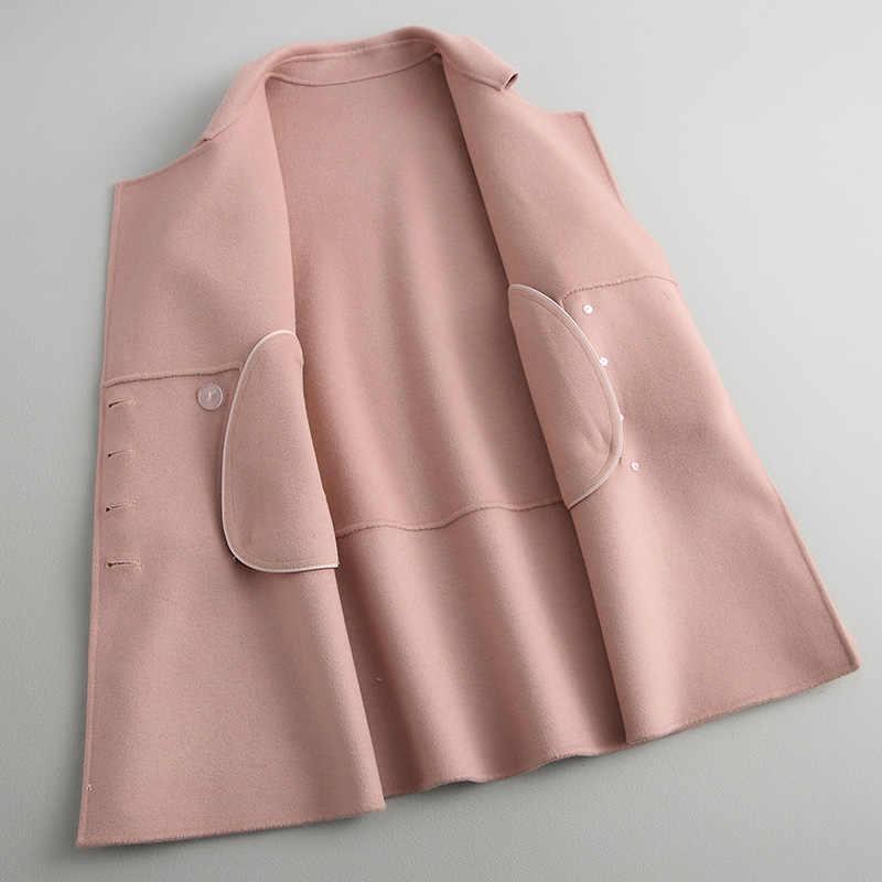 AYUNSUE 80% Wool Women's Coats Fashion Spring Autumn Jackets Turn-down Collar Cloak Winter Coat Women manteau femme 38055 YQ1425