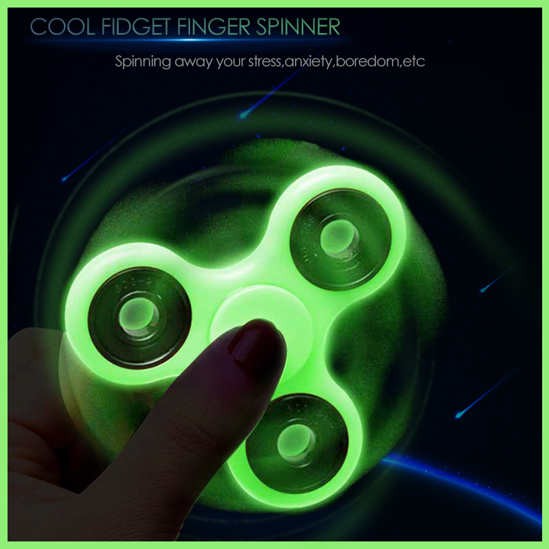 Luminous Tri Fidget Hand Spinner Light In Dark EDC Tri Spinner Batman Finger Toys Relieve Anxiety