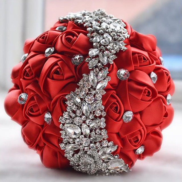 Wedding Flowers Bridal Bouquets Red Artificial Rose Luxury Diamond Crystal Bouquet Bling Brides Ramo De