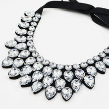 2016 New Arrive Fashion Jewelry Layers water drop glass crystal Collars Necklace Pendant vintage necklace for party wedding