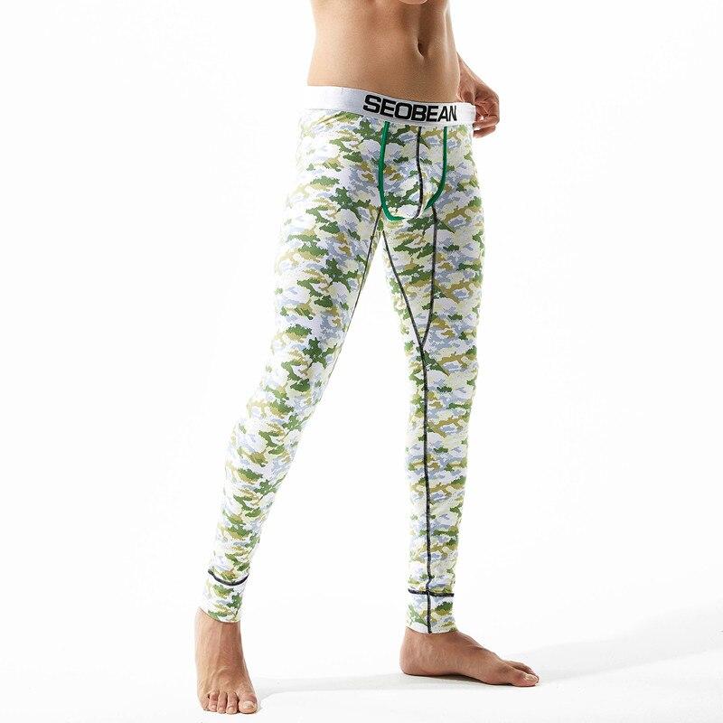 New SEOBEAN Wholesale 2017warm brand name cotton thermal underwear thermal underwear man long john underpants M L XL XXL in Long Johns from Underwear Sleepwears