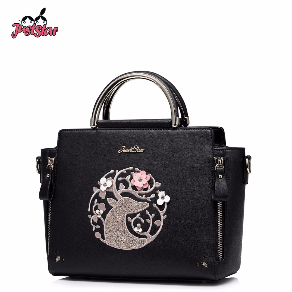 JUST STAR Brand Women's Leather Handbags Ladies Fashion Flower Shoulder Tote Purse Female Leisure Embroidery Deer Messenger Bags just star women s pu leather messenger bags ladies embroidery shoulder purse female chain leisure whale crossbody bags jz4468
