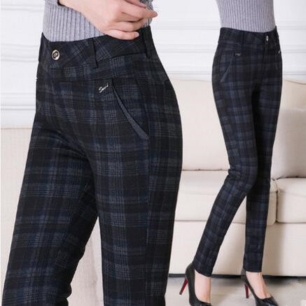 2018 Women Plaid Pants Full Length High Waist Spring/Autumn Fitness Trousers Plus Size 3XL 4XL 5XL