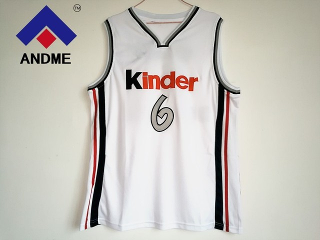 4a95e00aa4e Manu Ginobili  6 Virtus Kinder Bologna European Basketball Jersey White  Stitched Retro Mens Shirts