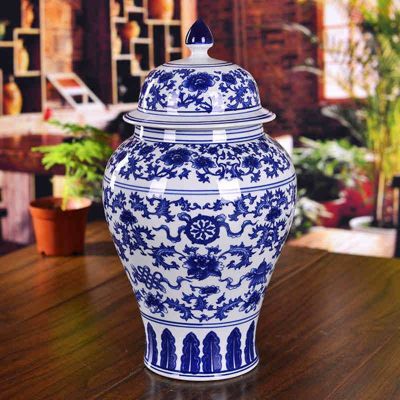Blue And White Chinese Ceramic Ginger Jars Antique Porcelain Temple