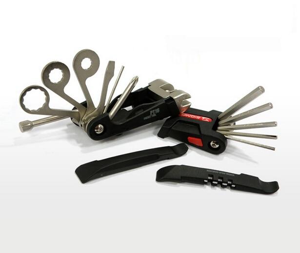 Многофункциональный PT16 карманный инструмент для ремонта велосипеда Наборы мини портативный набор инструментов для ремонта велосипедов шестигранный спицевой ключ Горный Цикл Отвертка инструменты - Цвет: Черный