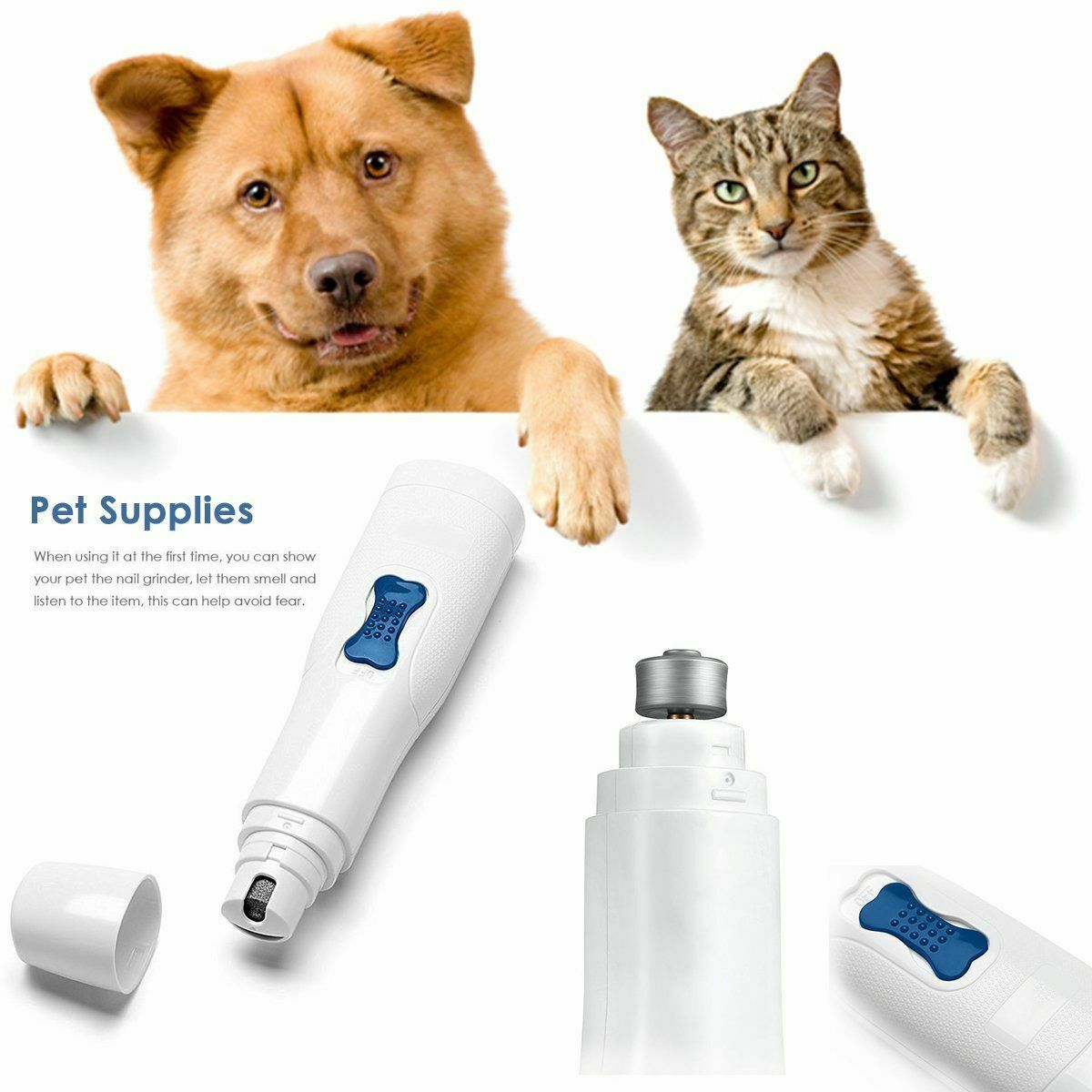 Electric Pet Nail Grinder Claw Grooming Trimmer Dog Cat Paws Clipper Tools Kits nail grinder pet supplies pet nail trimmer image