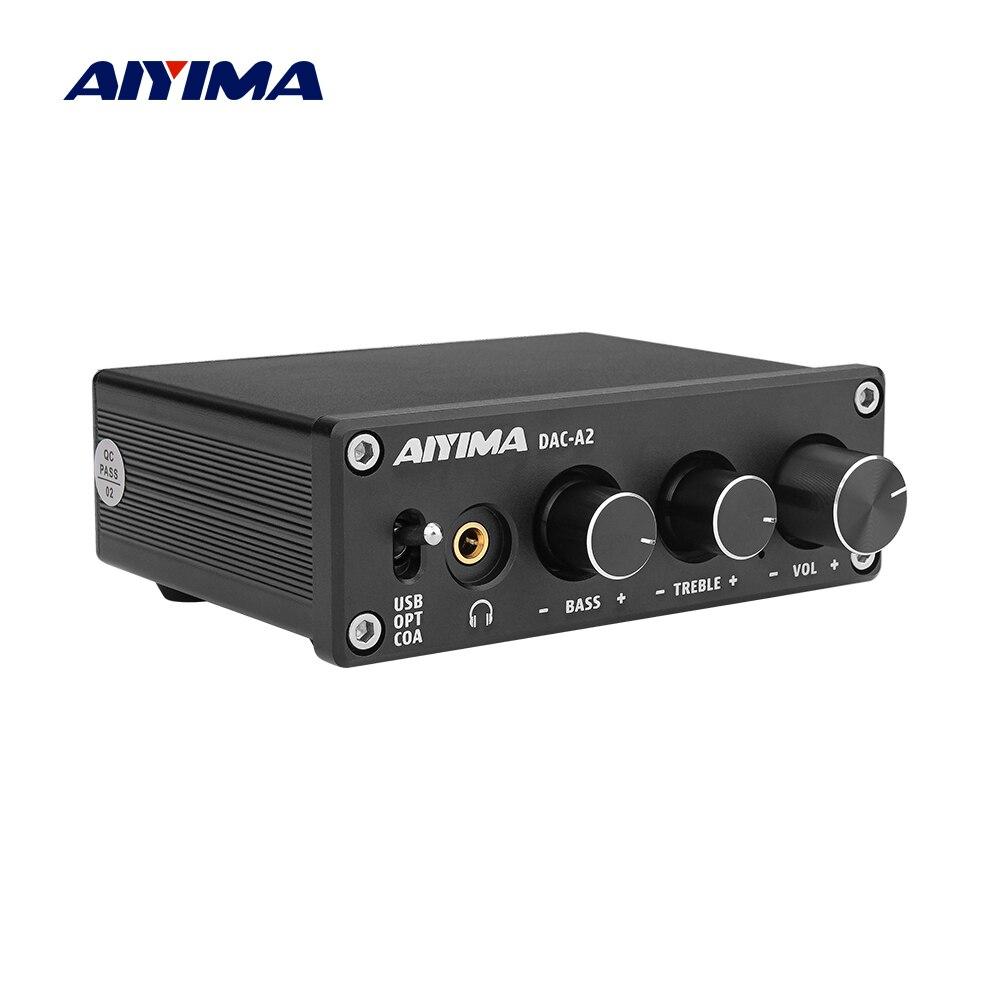 Aiyima mini amplificador 2.0 de alta fidelidade digital decodificador usb dac áudio fone de ouvido amplificador 24bit 96 khz coaxial saída óptica rca amp