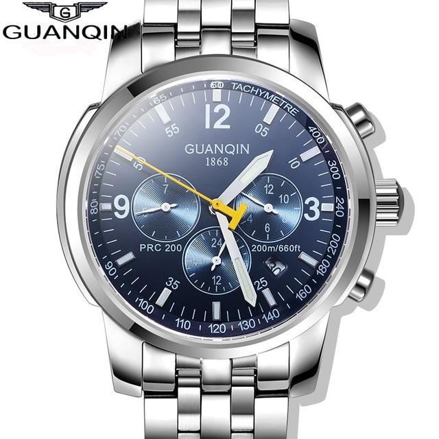 98bd1de8c073 Relojes mecánicos para hombre GUANQIN 2016 originales de marca de lujo de acero  completo a prueba