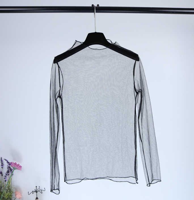 Jesień zima kobiety podstawowe najniższa koszulka z długim rękawem na co dzień eleganckie Sexy Lace Mesh przezroczysty Sheer czarna koszula topy koszulki
