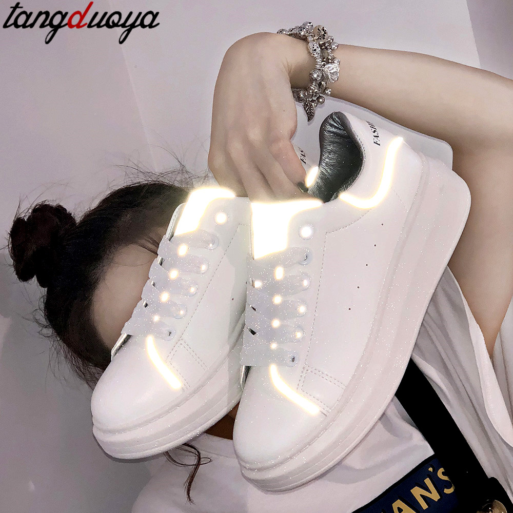 Women Casual Shoes 2020 New Women Sneakers Fashion Platform Wedges Shoes For Women Breathable PU Leather Shoes White Sneakers