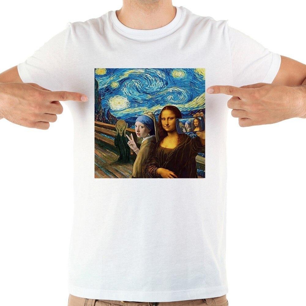 94cf3e0d119771 JOLLYPEACH marka Mona Lisa Selfie śmieszne tshirt mężczyźni nowy biały  krótki rękaw dorywczo homme Skrik t shirt w JOLLYPEACH marka Mona Lisa  Selfie ...