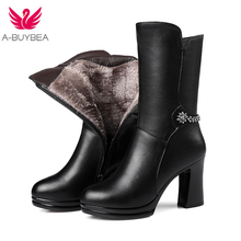 2017 winter new genuine leather women boots thick with Gaotong women's motorcycle boots Large size 35-40 warm women snow boots